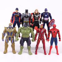 Marvel Super Heroes Iron Man Spiderman Captain America Thor Hulk Thanos PVC Action Figures Toys 8pcs