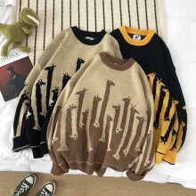 Зимние свитер Для мужчин теплая Модная контрастная Цвет Повседневное с О-образным вырезом Свитера, пуловеры человек уличной моды «дикий» свободный свитер c жирафом