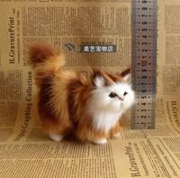 Modelo de gato de simulación, polietileno y amarillo y rojo piel 12x6x12 cm precioso gato artesanía juguete, Prop, decoración del hogar, Navidad regalo b3687