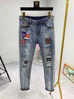 AH0617 модные мужские джинсы 2019 Подиумные роскошные известные бренды европейский дизайн вечерние стиль мужская одежда