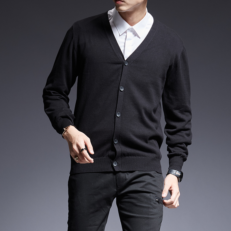 2019 New Fashion Brand Sweater For Mens Cardigan Warm Slim Fit Jumpers Knit Solid Color Autumn Korean Style Casual Mens Clothes