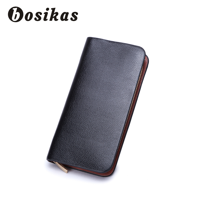 BOSIKAS New Men Wallets Zipper Clutch Wallet Bulk Space Male Purse High Quality PU Wallet with Coin Pocket Long card mobile bag