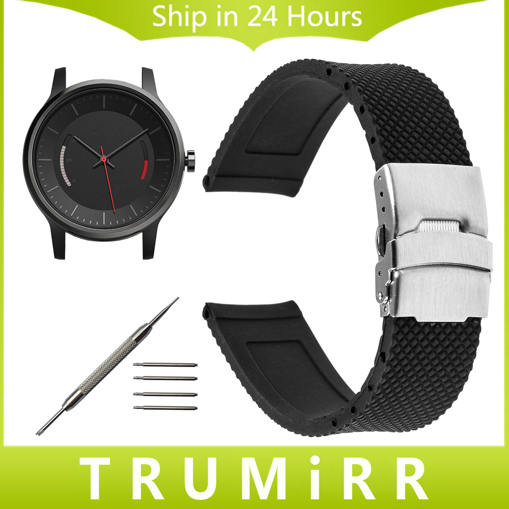 Silicone Rubber Watchband 20mm for Garmin Vivomove Smart Watch Band Stainless Steel Resin Strap Safety Buckle Bracelet + Tool 20mm 23mm high quality rubber silicone watchband for armani silicone rubber wrapped stainless steel watch strap for ar5906 5890