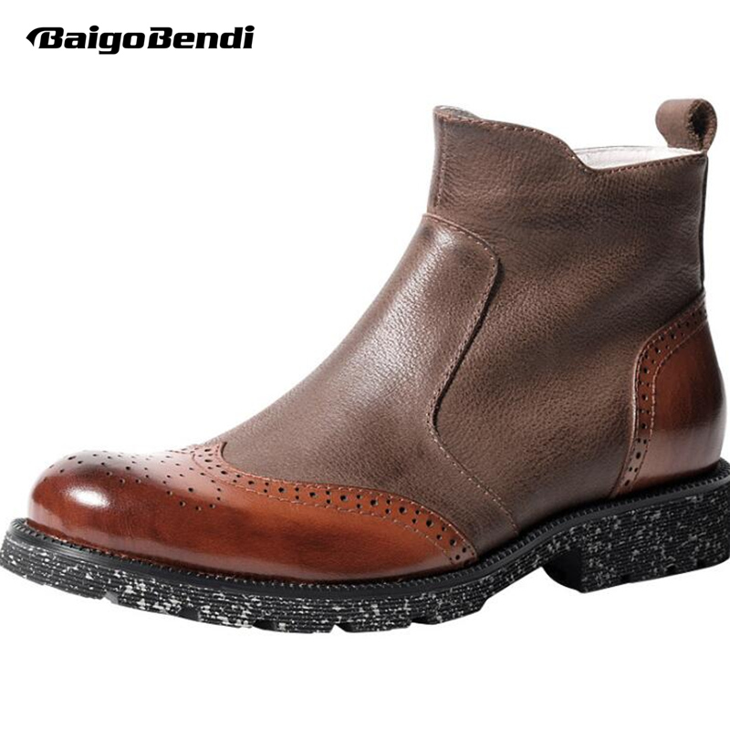 brown De Asa Sapatos Black Mens Dicas Genuína Moda Couro Inverno Top Brogue Botas Montaria Chelsea Homem Zip qxaT0wtTBp