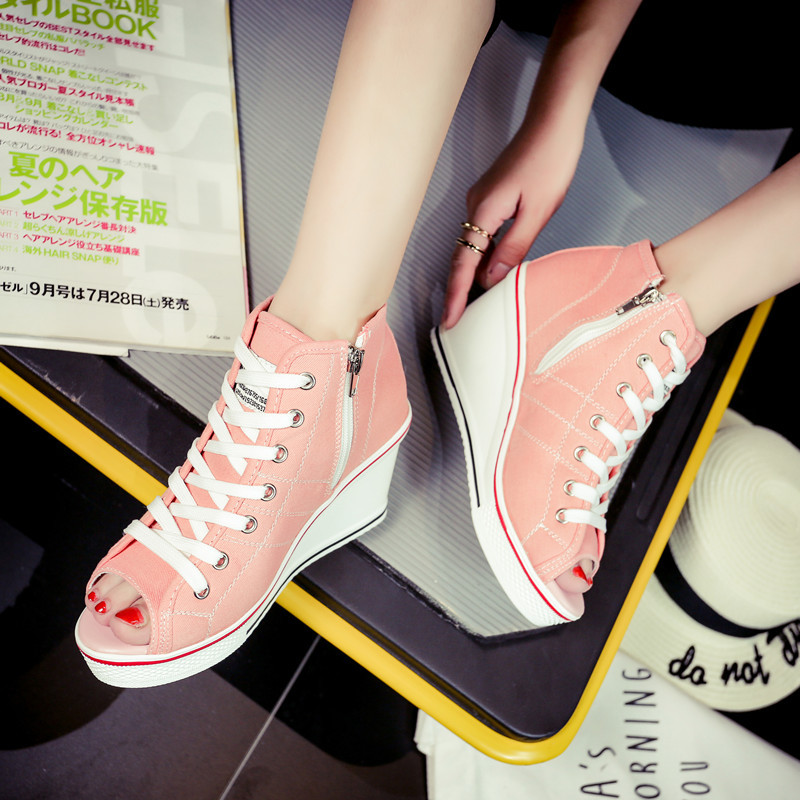 Sólida Suela Alta blanco Deporte Moda Casual Cremallera Otoño Cuñas Primavera Negro Con Vulcanizar Costura De Zapatos Plataforma rojo rosado Mujer Zapatillas Sn8xfEw0qp