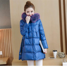 2017 Winter Women's Cotton Coat Fashion Style New High-end Temperament Lightweight Down Jacket With A Long Warm Cotton Jacket