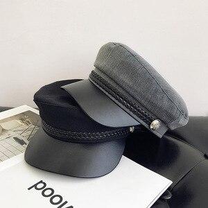 ファッション Pu レザーミリタリー帽子秋冬ウールセーラー女性の男性ブラックフラットトップ女性旅行士官候補生の帽子キャプテンキャップ