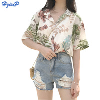 Hzirip 2017 Summer New Beach Shirt Women Short Sleeve Lapel Print Loose Cool Chiffon Blouse Ladies