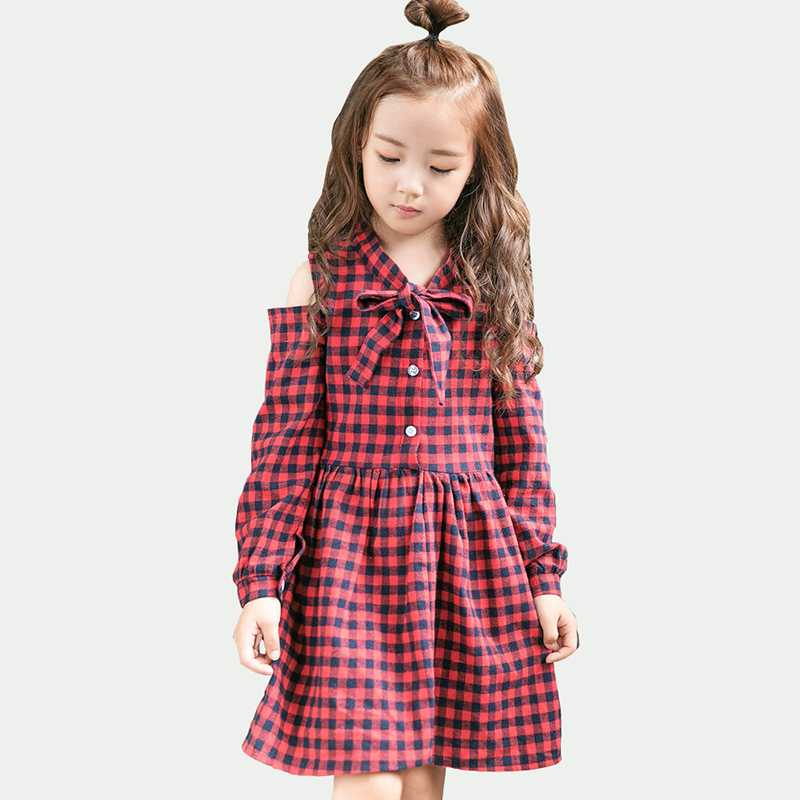 Children Baby Girl Red Paid Dress Kids Girls Off Shoulder Cotton Dresses Clothes Princess Party Outfits dress girl monsoon girls dresses summer baby girls clothes kids dresses lemon print princess dress girl party cotton children dress 67