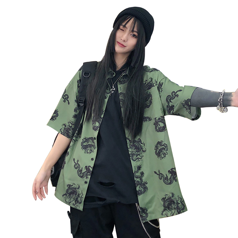 Lychee Harajuku Dragon Print Women Shirt Blouse Dark Short Sleeve Turn-down Collar Loose Summer Green Female Shirts Blouses