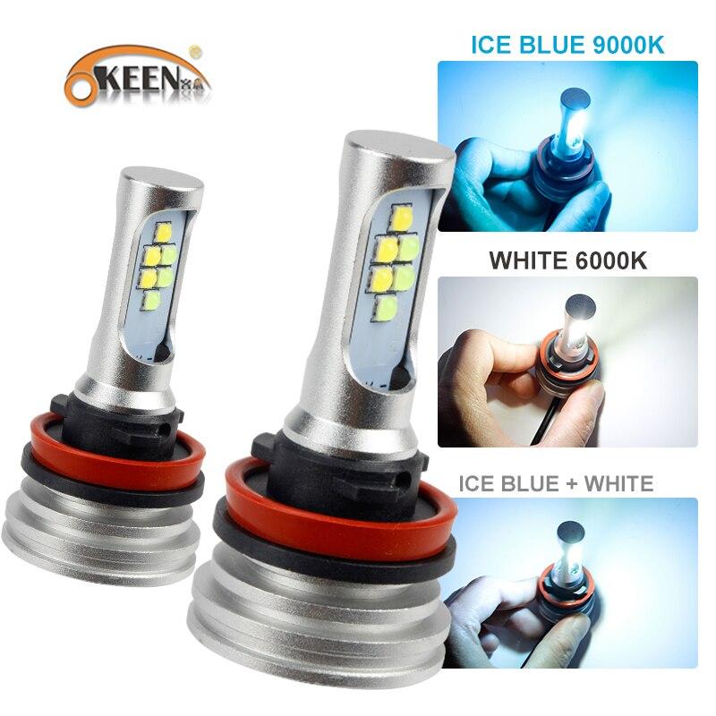 OKEEN Voiture 3 Couleur H7 LED ampoule Brouillard lumière H1 H4 H7 H11 HB3 HB4 50 w 5800LM Flip Puces 4300 k 6000 k 9000 k 12 v LED Ampoules 2 pcs