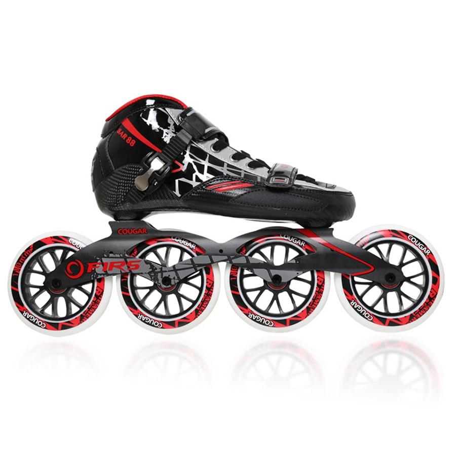 Original Cougar SR8 Speed Inline Skates Carbon Fiber Professional Competition Skate 4 Wheels Racing Skating Shoes Patines Patins