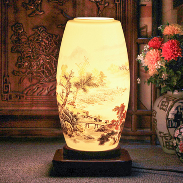 Traditional chinese ceramic table lamp country style study room porcelain desk lamp made from capital of