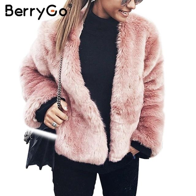 a9d98861442 BerryGo Fashion fluffy faux fur coat Casual long sleeve warm pink short coat  female Streetwear winter