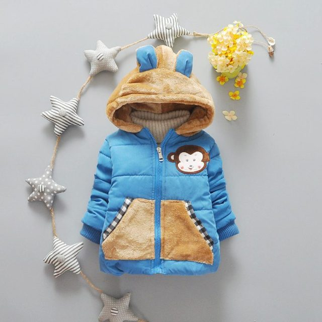 4-24M 2016 Winter Coat Clothes Warm Clothing Baby Girl Jacket Warm Cute Toddler Tops Outdoor Cute Monkey Outerwear Hooded Wear