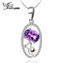 Natural Amethyst Genuine Pendant Solid 925 Sterling Silver Brand Design Floating Locket Pendant Pendulum For Necklace(China)