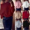 Женская С Длинным Рукавом Трикотаж Блузка Пальто Перемычка Пуловеры случайные тянуть femme hiver леди мода зимняя одежда