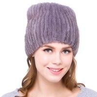2018 new fashion animal Mink Fur hat lady thick warm winter women cap DHY18 17