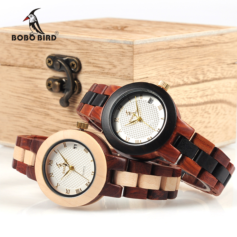 BOBO BIRD Two tone Wooden Watch Women Top Luxury Brand Timepieces Quartz Wrist Watches in Wood
