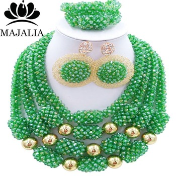Trendy green Nigerian wedding African beads jewelry set crystal necklace bracelet earrings Majalia A well-known brand 1045