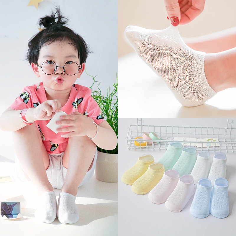 YWHUANSEN 5 Pairs/lot Ankle Socks Kids Summer Cotton Socks For Children Ultrathin Mesh Socks For Girls Children's Socks For Boys
