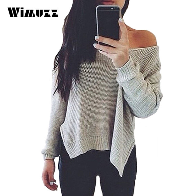 Wimuzz Women Autumn Oversized Sweater One Shoulder Sexy Pull Femme 2016 Side Split Pullover Backless Gray Knitted Jumper