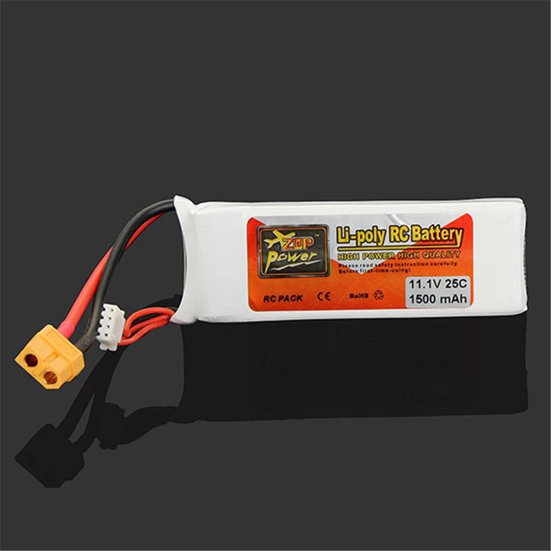 High Quality ZOP Power 3S 11.1V 1500MAH 25C Battery XT60 Plug Rechargeable Lipo Battery high quality rechargeable lipo battery zop power 14 8v 1800mah 75c 4s lipo battery xt60 plug