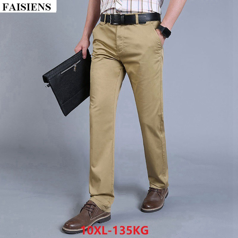 FAISIENS Men Pants 9XL 10XL Stretch Elasticity Large Size Big 8XL Classic Casual 46 48 Business Pants Men Khaki Blue Trousers
