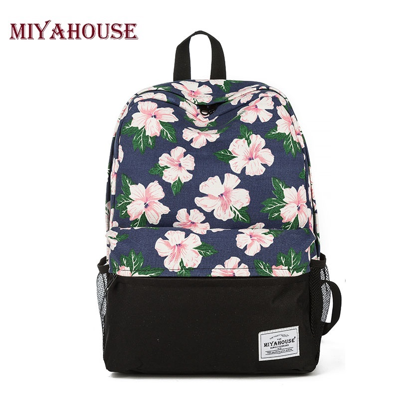 Miyahouse Fresh Style Floral Printed School Backpack For Teenage Canvas School Bag Girls High Quality Female Travel Rucksack