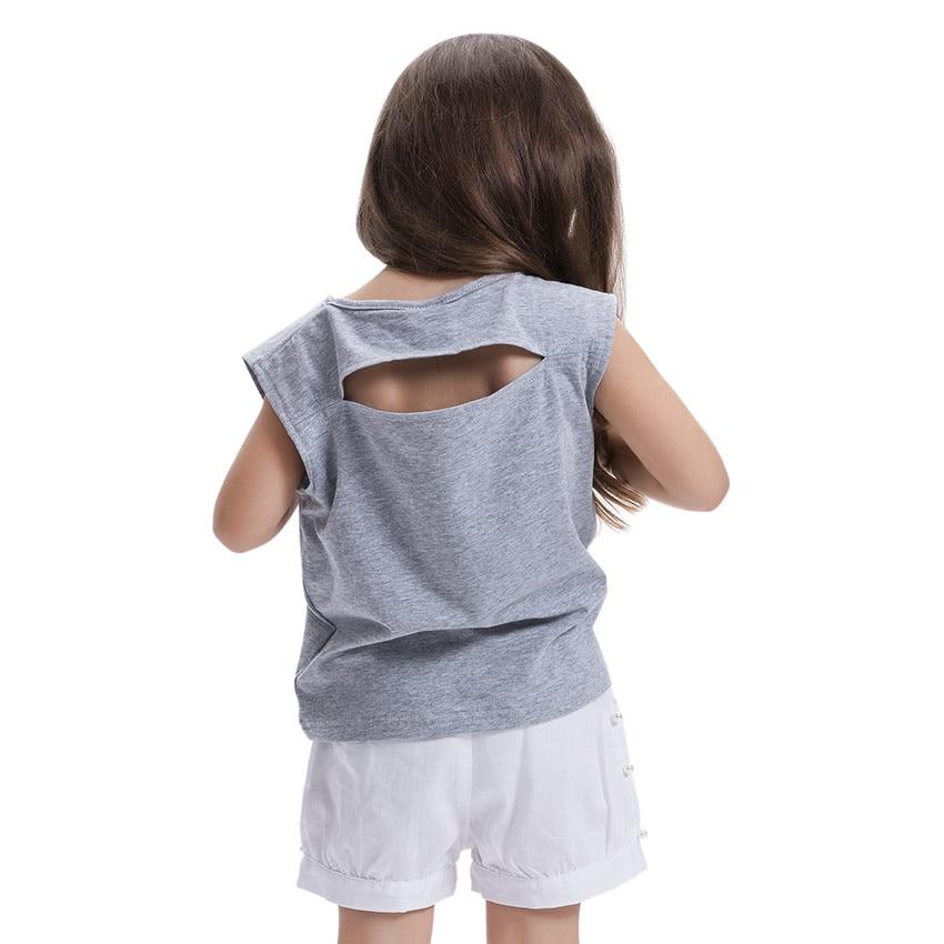lcjmmo высокое качество новый обувь для девочек футболка лето 2017 г. дети хлопок блёстки футболка для девочки Top correcting детская одежда с круглым провода для от 3 до 7 лет