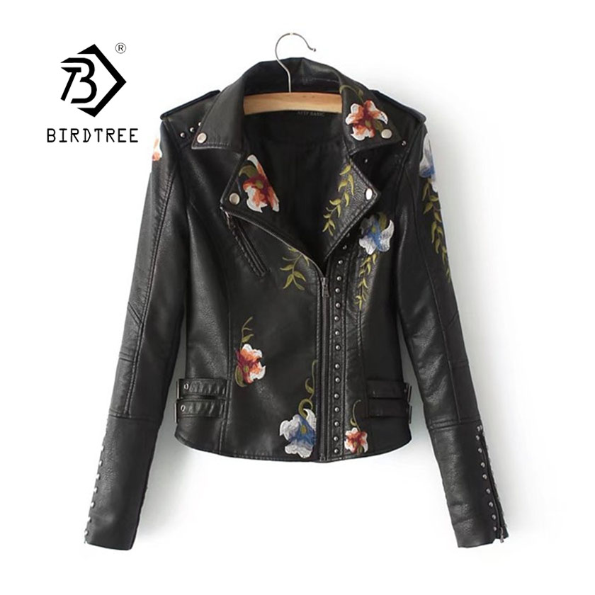 2019 Fashion Spring Women's Print Faux Soft   Leather   Jacket Coat Turn-down Collar Zippers Rivet Motorcycle Outerwear C8D501J