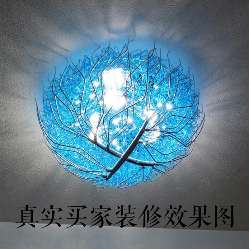 Kreatywny niebieski ptasie gniazdo lampy sufitowe pokój dziecięcy sypialnia styl śródziemnomorski oświetlenie oświetlenie restauracji ciepły romantyczny