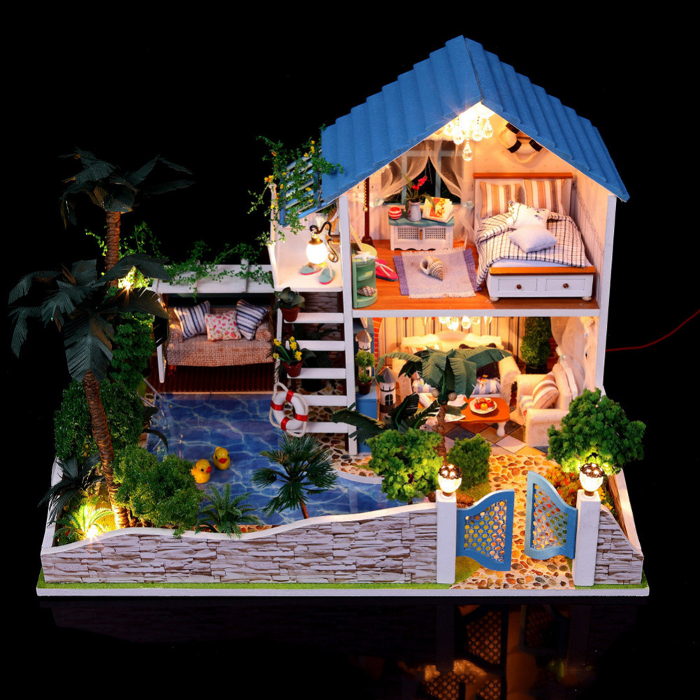 New 1set DIY Doll House Romantic Full House From The Stars Without Dust-proof Cover drop shipping full house