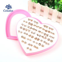 New Arrival Korean Fashion Mini Cute Gold Silver Color Earrings Colorful Imported Rhinestone Earring Stud Set with Heart Box(China)