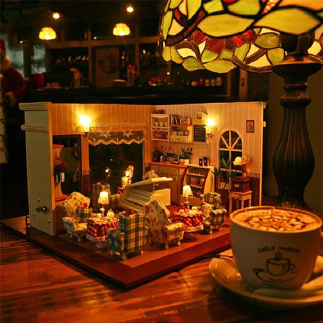 Bricolaje de madera casa de amante de los juguetes cafetería casa de muñecas en miniatura montaje de muebles juguetes de bloques de construcción para niños adultos