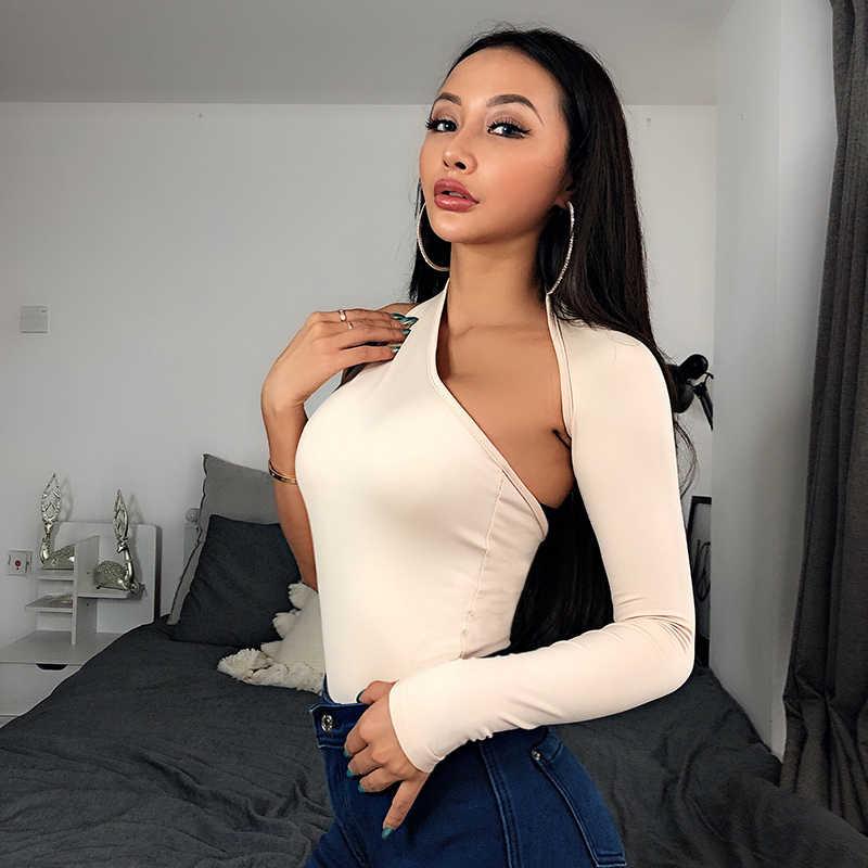 2019 новые женские одно плечо склон вырез боди один длинный рукав Bodyocn спинки боди 2018 Лето Для женщин сексуальное тело