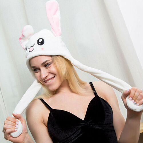 Woman Cute Cartoon Gift Plush Toy Move Rabbit Ear Hat Pinching Airbag Cap Bunny Hat Women Funny Hats Caps