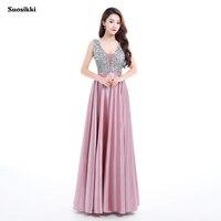 Suosikki 2017 New V Neck Beads Bodice Open Back A Line Long Evening Dress Party Elegant