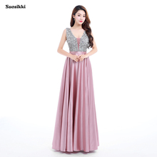 Suosikki 2017 New V-Neck Beads Bodice Open Back A Line Long Evening Dress Party Elegant Vestido De Festa Fast Shipping Prom Gown