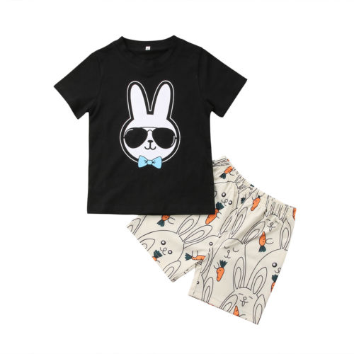 2PCS Causal Toddler Kids Baby Boys Girls Short Sleeve Rabbit Print T-shirt Tops+Short Pants Clothes Set Outfits