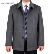 Mu Yuan Yang Casual Wool Jacket Men Winter Wool & Blends Single Breasted Mens Woolen Coat Turn down Collar Cashmere Clothing
