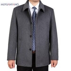 Image 1 - Mu yuan yang Casual kurtka z wełny mężczyźni zimowa wełna i mieszanki pojedyncze łuszcz mężczyzna wełniany płaszcz skręcić w dół kołnierz kaszmiru odzież