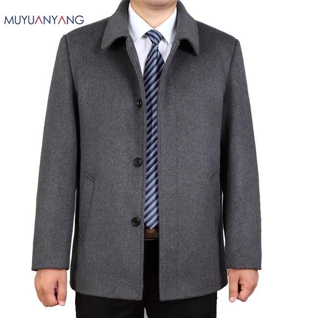 Mu yuan yang Casual kurtka z wełny mężczyźni zimowa wełna i mieszanki pojedyncze łuszcz mężczyzna wełniany płaszcz skręcić w dół kołnierz kaszmiru odzież