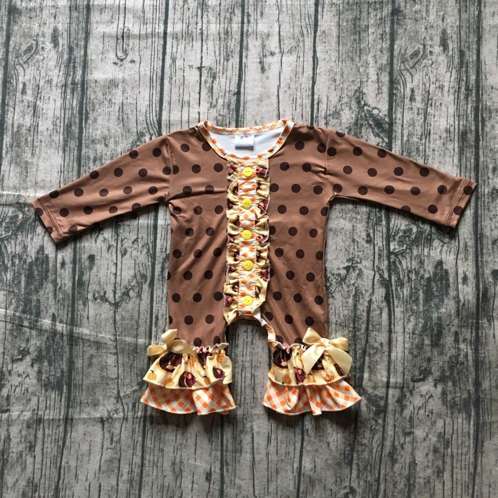 girls thanksgiving jumpsuits sets infant toddler baby girls poka dot brown   romper   infant girls thankgiving party   romper   outfits