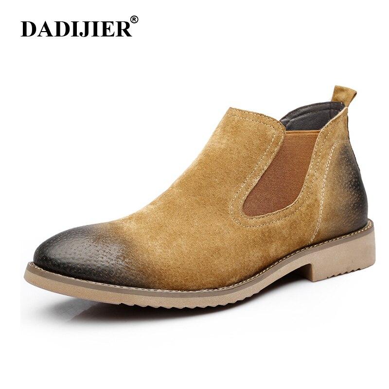 En Bottes Cuir D'hiver Dadijier Véritable marron 2018 Hommes Noir Chaussures Cheville Chelsea Nouvelles St97 wqxBzTg