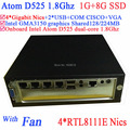 small business server with Intel Atom D525 1.8Ghz 4 Gigabit Nics Firewall motherboard 4-way input and output GPIO 1G RAM 8G SSD