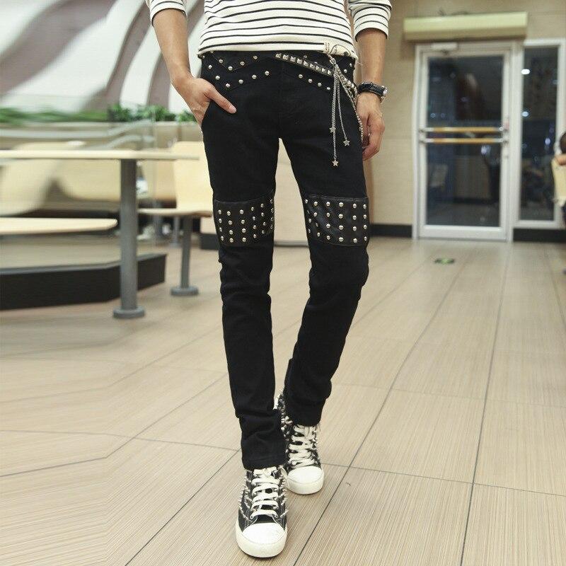 Hot Sales! High fashion punk style rivets design pu leather patchwork new jeans men slim fit skinny denim pants men