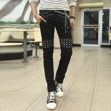 Горячие Продаж! высокая мода стиль punk заклепки дизайн искусственная кожа лоскутная новые джинсы мужчины slim fit тощие джинсовые брюки мужчины