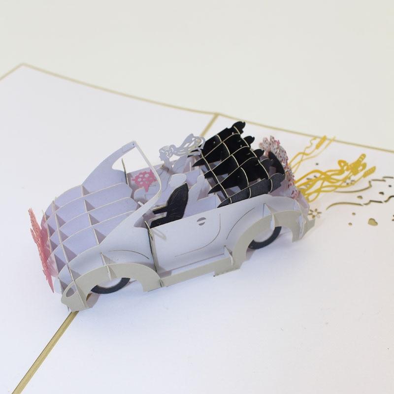 10 pieces lot 3D Pop Up Paper Laser Cut Greeting Card Wedding Car Valentine Anniversary