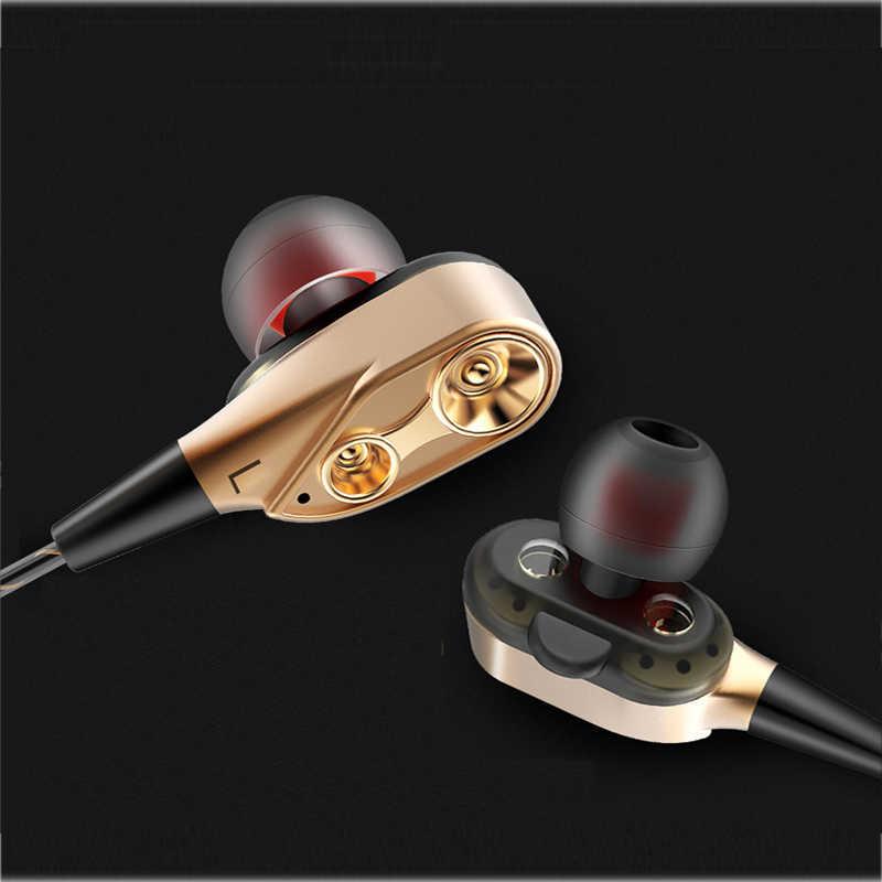 2018 Hot Menjual Earphone Headset Double Unit Drive Subwoofer Headphone untuk Ponsel DJ Mp3 Olahraga Earphone Earbud Auriculares